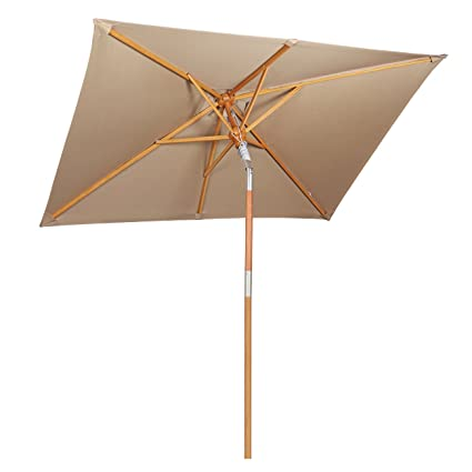 Sekey 6.6ft × 4.9ft Outdoor Wooden Umbrella Beige/Taupe,Patio Umbrella Beige