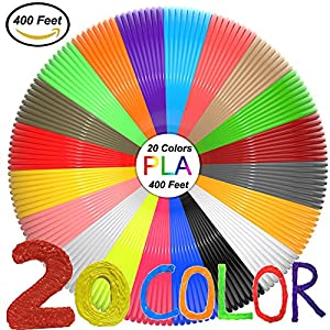 3D Pen Filament Refills(20 Colors,20 Feet Each) Total 400 Feet,PLA Filament 1.75mm,PLA 3D Printing Pen Filament 3D Pen For Kids,No Stuck, Non-toxic and Odorless,Not Fit for 3Doodler Pen by Myuilor