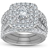 3 ct Diamond Engagement Wedding Double Cushion Halo Trio Ring Set 14k White Gold - Size 5.5