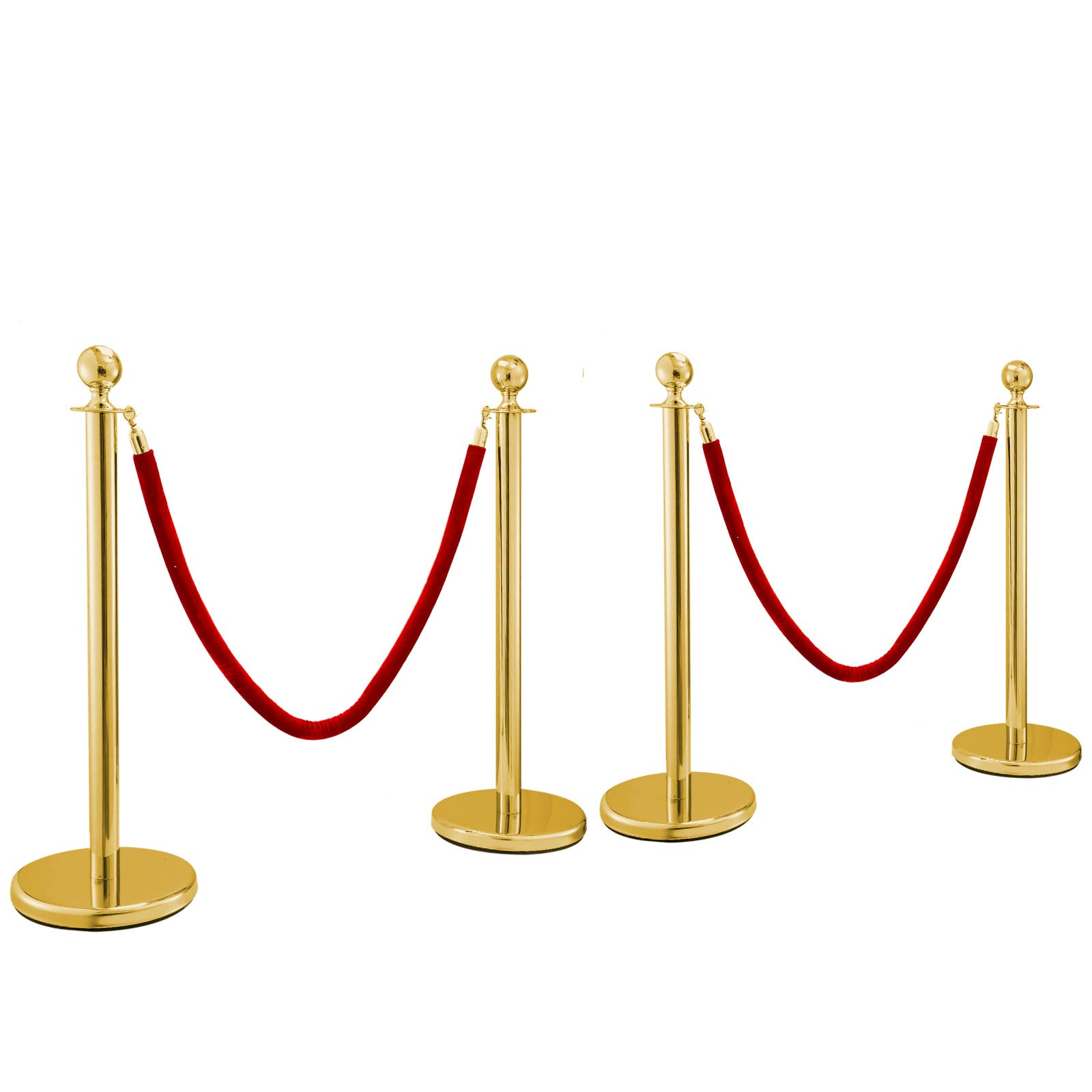 BestEquip 4Pcs Gold Stainless Steel Stanchion Posts Queue Red Velvet Ropes 38In Rope Barriers Queue Line Crowd Control Barriers for Patrty Supplies by BestEquip