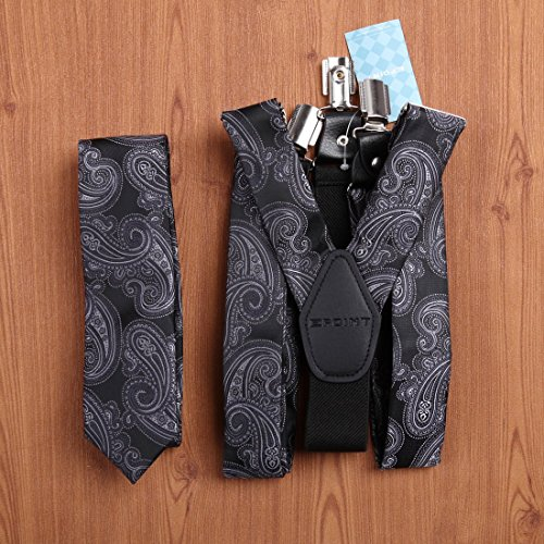 EFDB0036 Grey Yellow Black Paisley Suspenders Microfiber SkinnyTie Set By Epoint