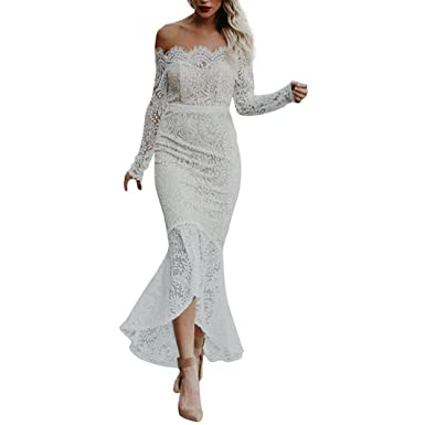 Alixyz Womens Evening Dress Lace Off Shoulder Flouncing Mermaid Formal Prom Gowns (S, White