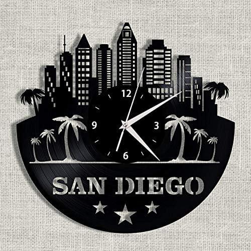 SKYTY 3D Amerikanischen Stadtbild San Diego Schallplatte Uhr Hohl Vinyl Kunst Uhr Büro Wohnzimmer Büro Dekoration Uhr Keine Led 12 Zoll