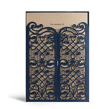 Amazon Com Wishmade 50x Elegant Blue Laser Cut Wedding Invitations