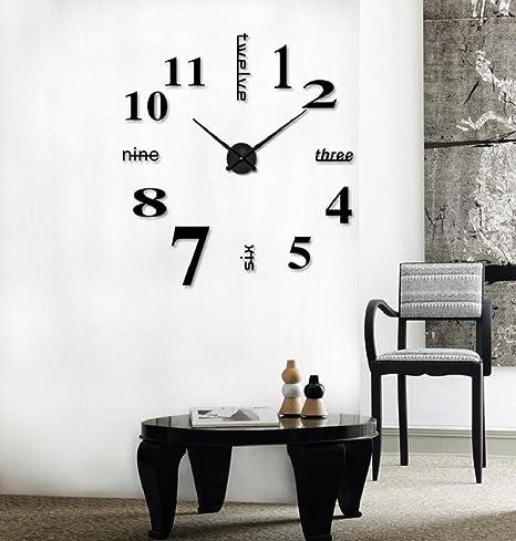 LuckES Reloj de Pared 3D con Números Adhesivos Modern Creative DIY  Bricolaje Moderno Decoración Adorno para 0eb08a0d011a