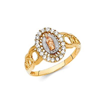 Ioka 14K Tri Color Solid Gold CZ Religious Ring