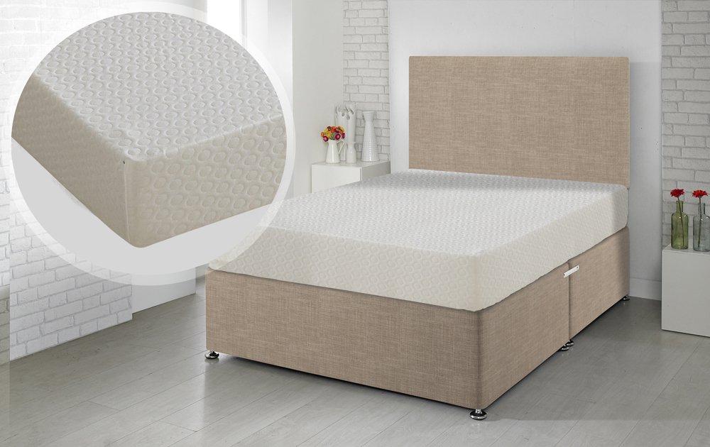 Happy Beds Matratze Memory-6000orthopädischen Memory Foam Regular abnehmbarer Bezug mit Reißverschluss/Stoff Divan-Basis/verschiedene Schublade Optionen/Uni Kopfteil, sand, 180 x 200 cm