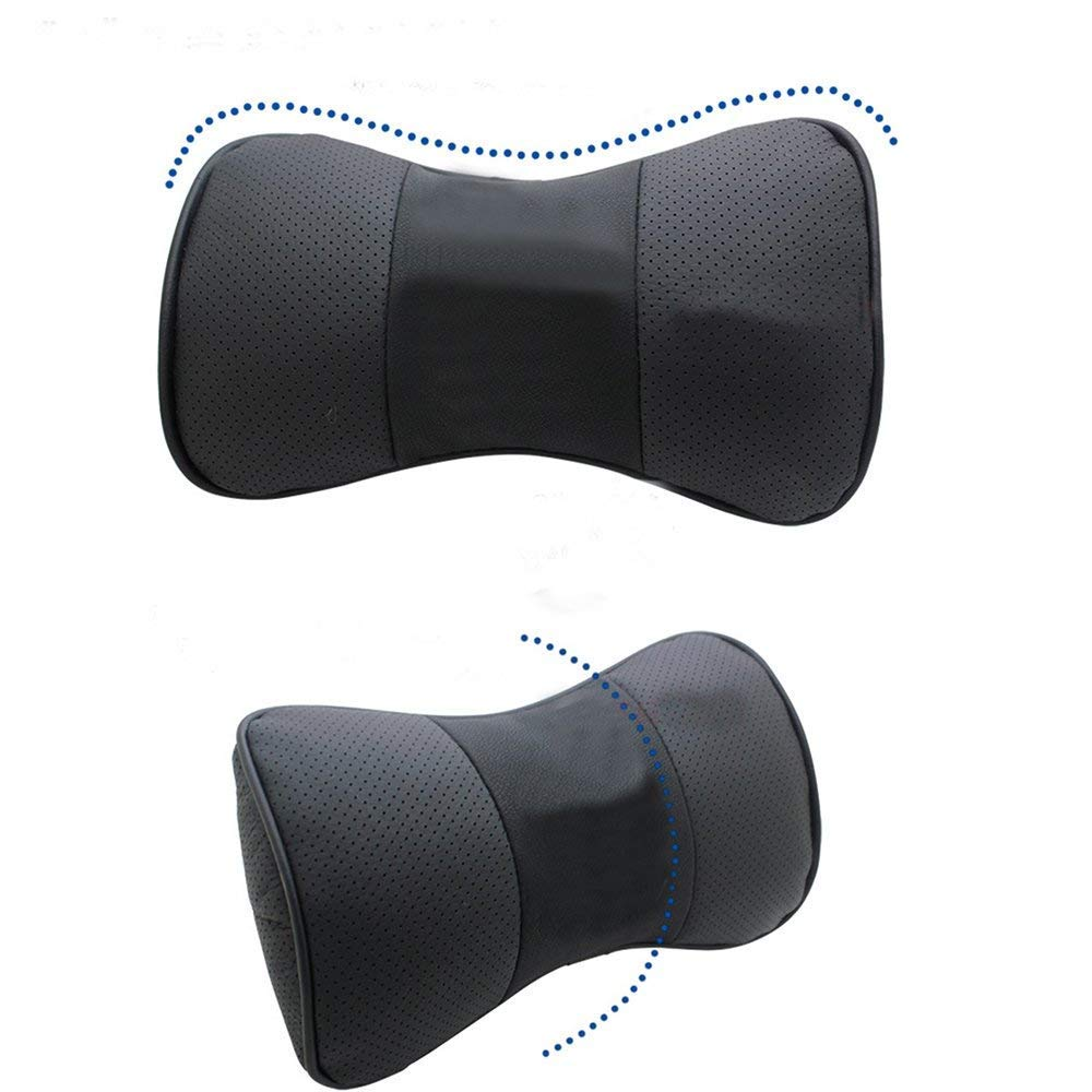 Auto Sport 2 PCS Genuine Leather Bone-Shaped Car Seat Pillow Neck Rest Headrest Comfortable Cushion Pad Without Logo Pattern