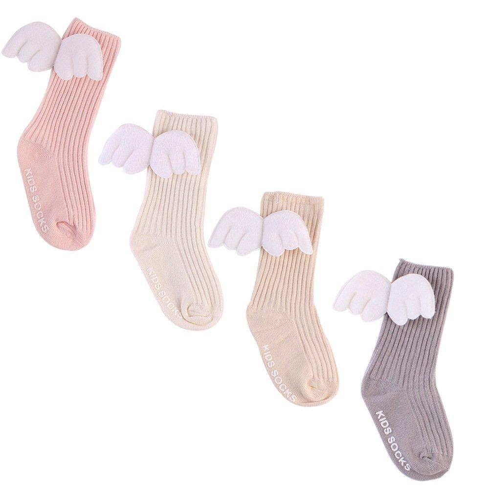 Tukistore 4 Pares de Calcetines de algodón para niñas bebé Conjunto Calcetines de ala de ángel Moda 3D Calcetines Medias para bebé recién Nacido XD0001183X-S