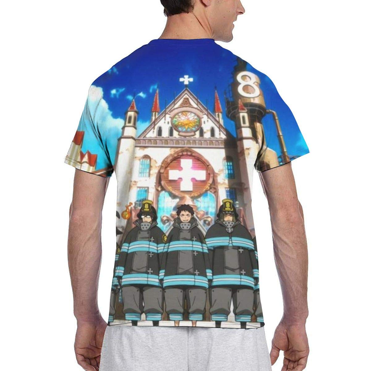 SHANGQINGYUN Fire Force Anime Mens Two Side Print Polyester Short Sleeve Shirts