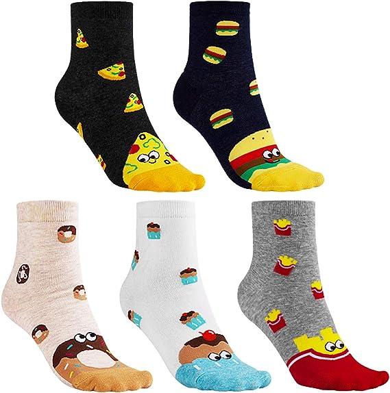 CNNIK 5 pares de calcetines universales para mujer, pastel de pizza, papas fritas, donas, hamburguesa, novedad linda, divertidos calcetines de algodón de dibujos animados para niñas, mujeres, damas: Amazon.es: Ropa y accesorios