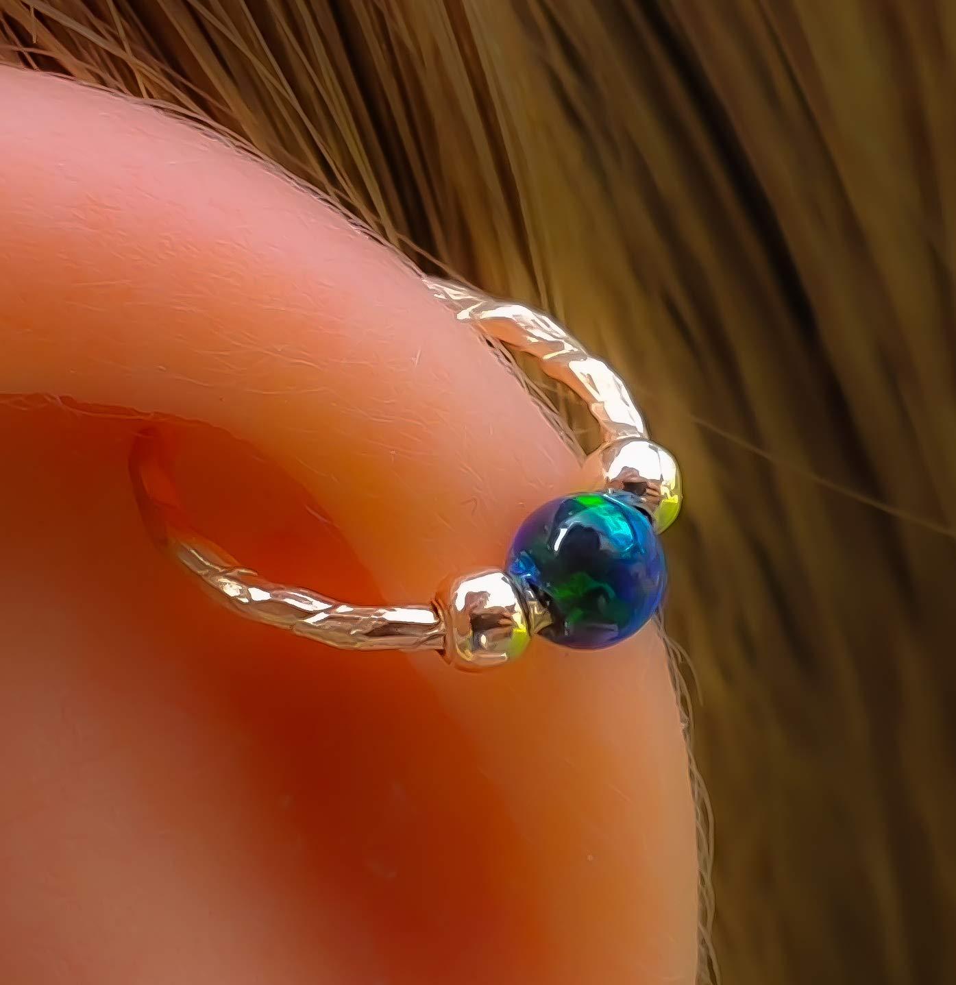 20 Gauge 14k Gold Filled Cartilage Earrings ring,Opal Helix/piercing Hoops Helix Jewelry Opal Cartilage Earring Hoop