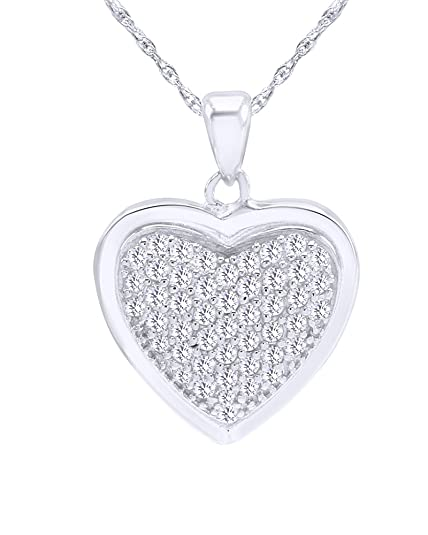 Wishrocks Round Cut White Cubic Zirconia Fashion Pendant Necklace in Sterling Silver