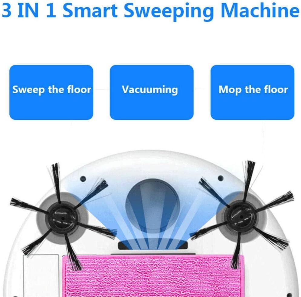 Sghjfj Aspirateur Intelligent Multifonctions IntelliDonnées étage 3-in-1 Auto Rechargeable Intelligent Balayer Aspirateur Robot Balayer Humide à Sec (Color : Gray) Noir