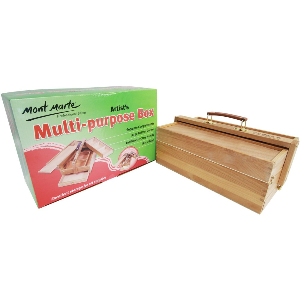 Mont Marte Multi-Purpose Wooden Art Box. 3 Layers of Storage for Organizing Art Supplies. Features a Leather Carry Handle for Easy Transport 4336937531