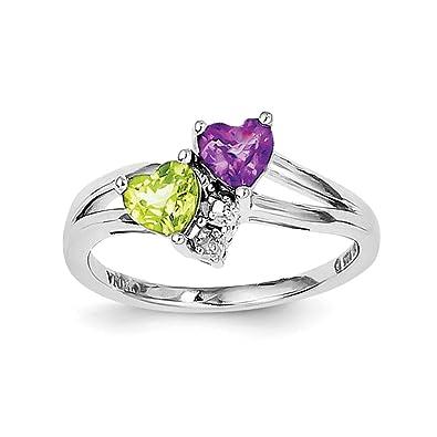 info pour 0950c 947d2 Argent sterling poli Dos ouvert Améthyste Péridot Bague Diamant – Taille de  la bague Options Gamme : L au R