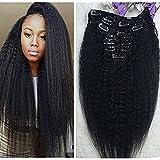 "Full Shine 16"" 7 Pcs 100g Kinky Straight Human Hair Extensions Clip In Hair Extensions Yaki Clip in Human Hair Black Color Virgin Hair Clip in Hair Extensions For Black Women Natural Hair Extensions"