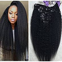 "Full Shine 16"" 7 Pcs 100g Kinky Straight Human Hair Extensions Clip In Hair Extensions Yaki Clip in Human Hair Black Color Virgin Hair Clip in Hair Extensions For Black Women Natural Hair Extensions"