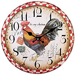 Large Cockerel Rooster Stamps Early Bird Kitchen Dining Room Round Circle Wall Clock Red Cream Brown