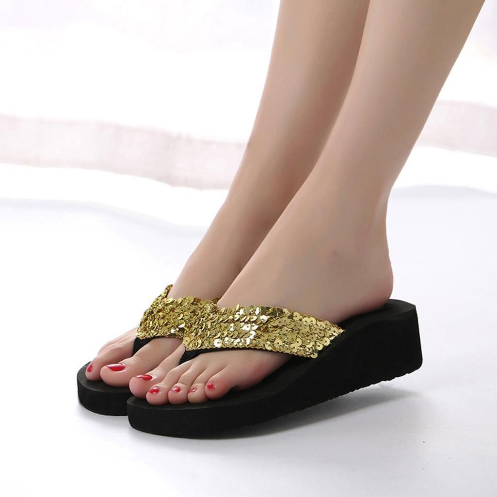 ❤️Xinantime Flip Flop para Mujer Sandalias Antideslizantes con Lentejuelas de Verano Zapatilla Interior y Exterior Flip-Flops Chanclas Mujer
