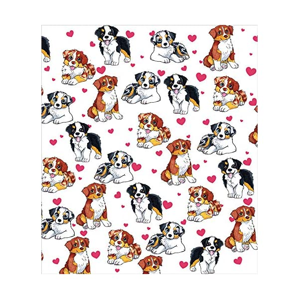 BlessLiving Red Hearts Dog Cat Print Plush Blanket Cute Puppy for Kids Adults 3D Animal Print Plush Blanket Gift for Pet Lovers (Australian Shepherd,Throw, 50 x 60 Inches) 2