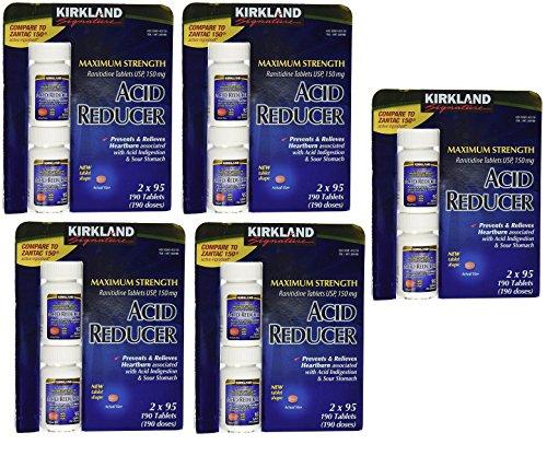 Kirkland Signature Maximum Strength Acid reducer Ranitidine tablets USP 150MG yiiKyz, 5Pack (190 Tablets) by Kirkland Signature