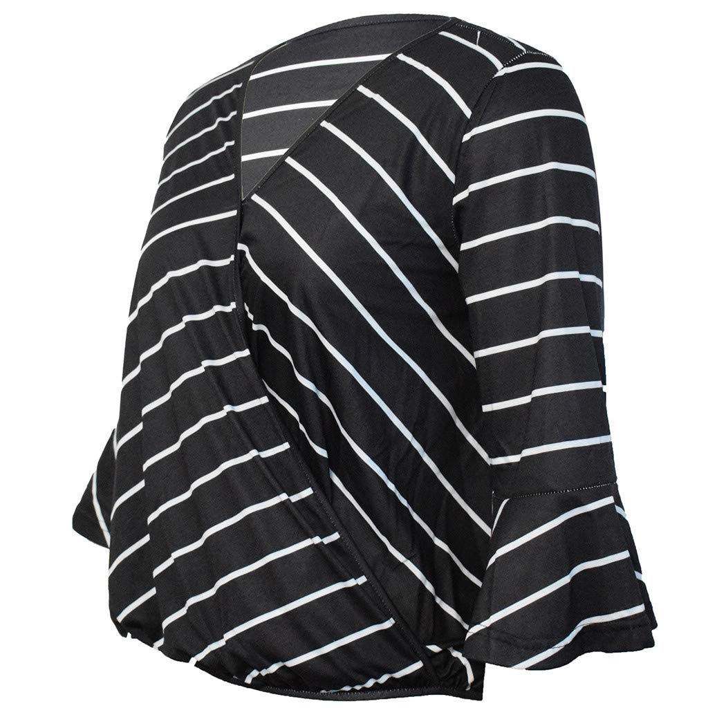 LONGDAY Women Casual T-Shirt Wrap V-Neck Flare Sleeve Shirt Summer Loose Blouse Striped Top Tunic Ladies Pullover Basic Black by LONGDAY-Women Tops (Image #5)