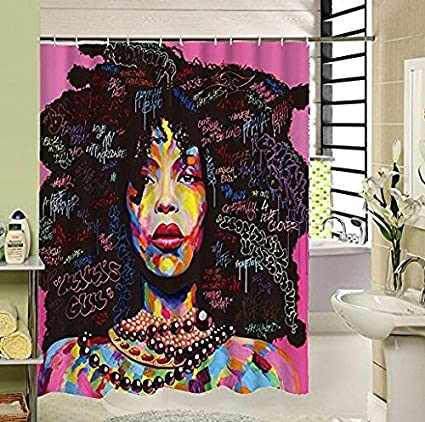 Black Is Beautiful Art Love Family Afrocentric Shower Curtains For Bathroom Decor
