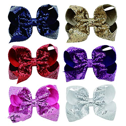 6 Pcs 8 Inch Large Colorued Stitching Glitter Sequin Hairpin Girls Bows Clip Hair Bows … (812) (Sequin Bow Large)