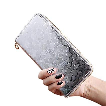 Aolvo - Cartera de piel con cremallera para tarjetas de crédito con monedero de gran capacidad para mujer, plateado