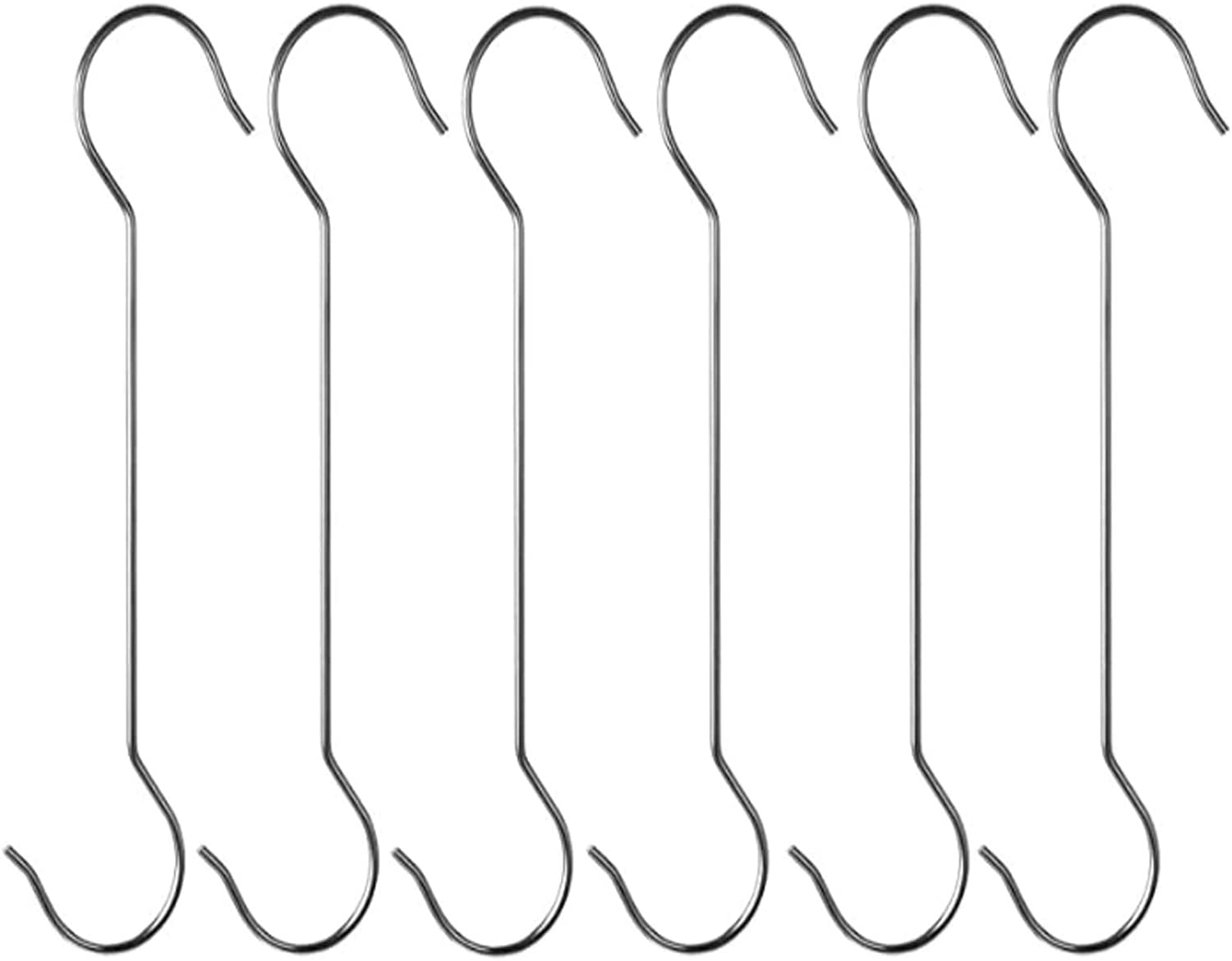 16 Inch Extra Large Heavy Duty Long Outdoor Plant Hanging S Hooks - for Baskets, Bird Feeders, Wind Chimes, Garden Ornaments,Pergola,Closet,Flower Basket,Indoor Outdoor Uses (6 Pack)