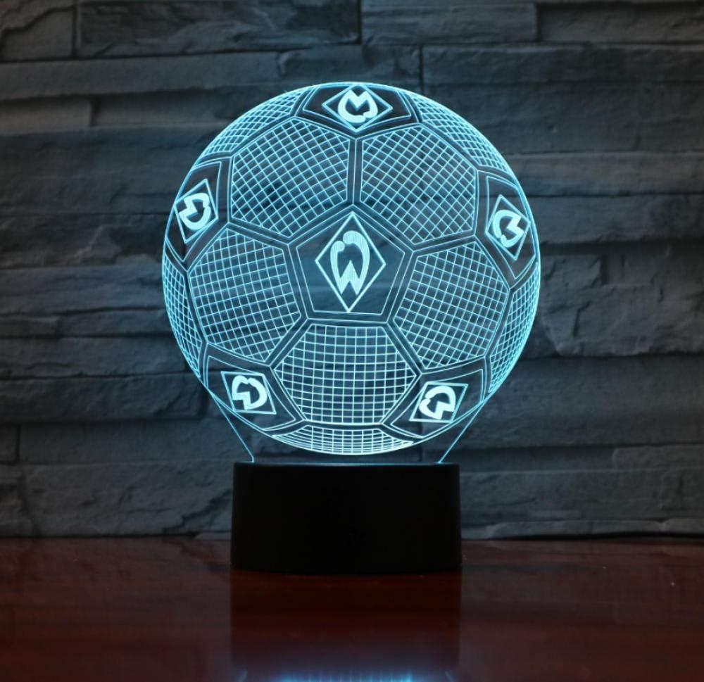 7 colores cambian luz de ilusión 3D luz de noche de fútbol lámpara ...