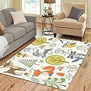 InterestPrint Forest Animal Green Area Rugs Carpet 7 x 5 Feet, Fox Deer Tree Modern Carpet Floor Rugs Mat for Children Kids Home Living Dining Room Playroom Decoration