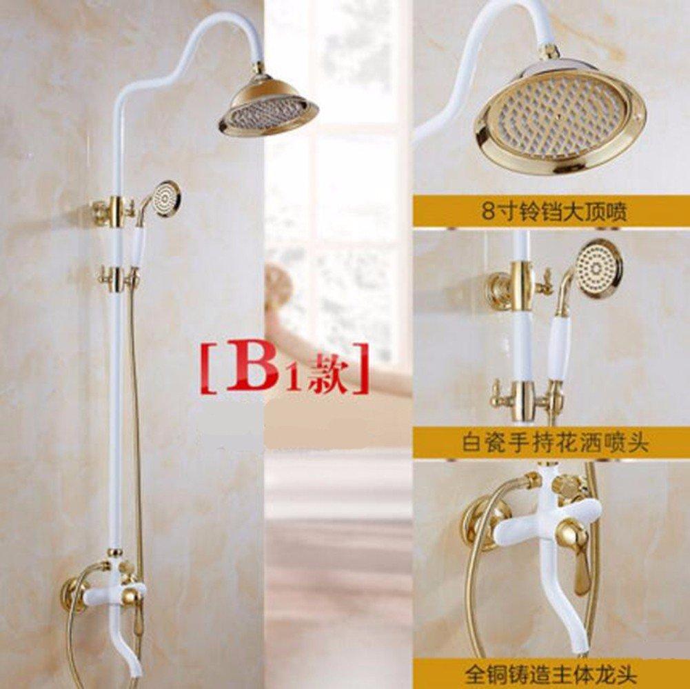 E Shower set Grilled White Paint Shower Shower White Suit European Copper Faucet golden Shower Bathroom Water Mixing Valve,A