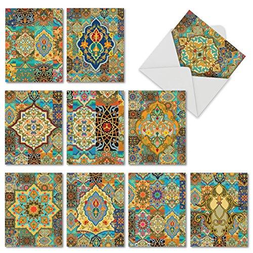 (10 Beautiful Blank All Occasion Ramadan Cards 4 x 5.12 inch - Elegant Arabian Sights Assorted Greeting Cards - Colorful Tile Designed Stationery - Bulk Note Card Set w/ Envelopes M6588OCB)