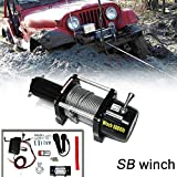 VioletLisa 6000lb / 2722kg Capacity 12V Electric Recovery Waterproof Winch With Wired Switch & Wireless Remote for Pickup Truck Car SUV Jeep Trailer Boat