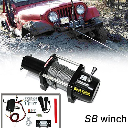 VioletLisa 6000lb / 2722kg Capacity 12V Electric Recovery Waterproof Winch With Wired Switch & Wireless Remote for Pickup Truck Car SUV Jeep Trailer Boat by VioletLisa