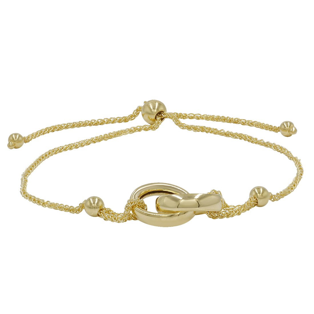 Amanda Rose Interlocking Circle Bolo Bracelet in 14k Yellow Gold (Adjustable) by Amanda Rose Collection