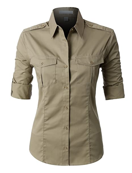 RubyK PREMIUM Womens Easy Care Roll Up Sleeve Twill Button Down ...