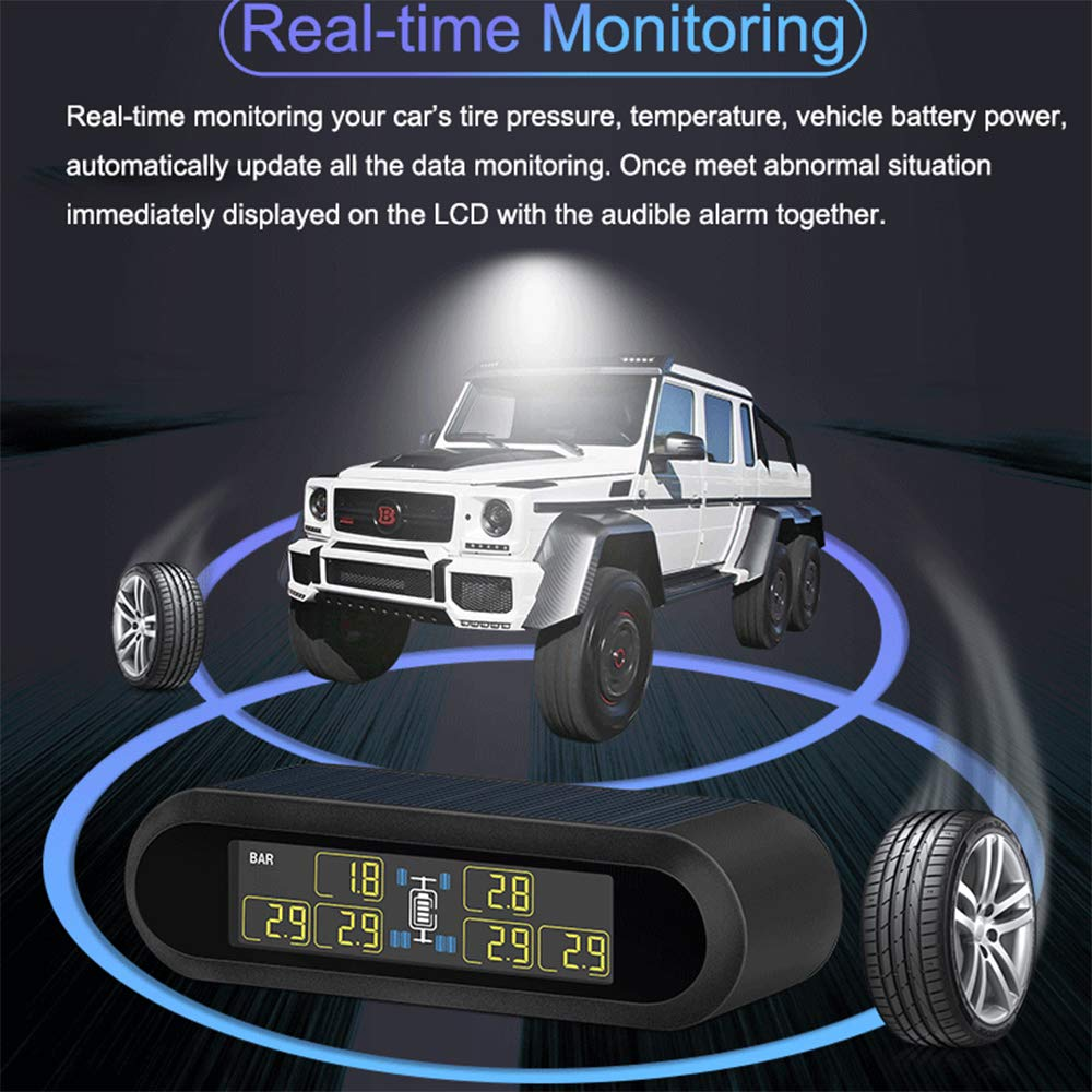 Anyota Solar RV Tire Pressure Monitoring System Real-time Monitor 6 Tire's Pressure and Temperature for Pickup Tow Trailer(0-116 PSI) by Anyota (Image #4)