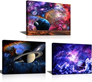 Wall Art For Living Room Decor Solar System Space Decor Astronomical - Galaxy Star 3 Pieces Canvas Wall Art Each 12x 16inches Planet Earth Alien Decor Cool Poster for Baby Teen Boys Girl Room Decor Bedroom Decor Astronaut Theme Outer Space Galaxy Room Decor Vintage Classic Prints Photo by Nasa Natural Modern Neon Style Wooden Frame for Men Kids Room Home Decor Aesthetic Room Cuadros De Pared De Sala Ready to Hang