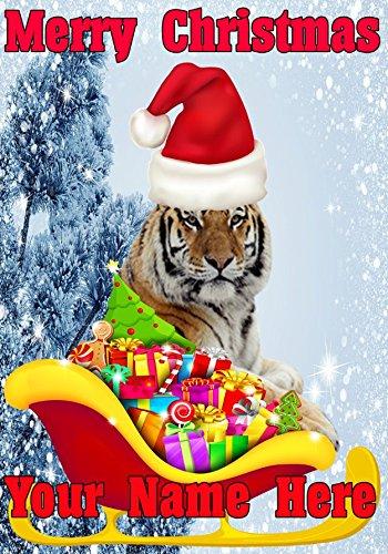 Felicitacion Navidad Personalizada Fotos.Tigre Santa Trineo Nnc163 Humor Navidad Tarjeta A5 Tarjetas