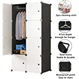 Cube Wardrobe Cloth Cabinet Cupboard Closet DIY Modular Clothing Storage Organizer 5 Cubes 1 Hanging Section Portable Sturdy Extra Space Durable Black for Bedroom