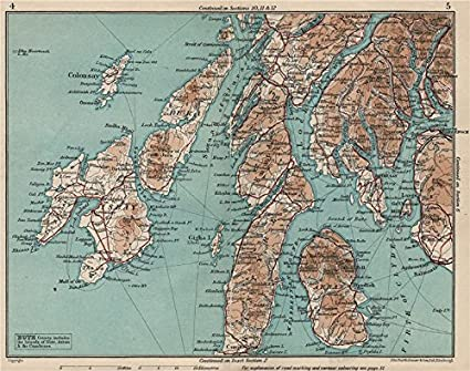 Islay Scotland Map.Argyll Bute Kintyre Islay Jura Arran Colonsay Vintage Map