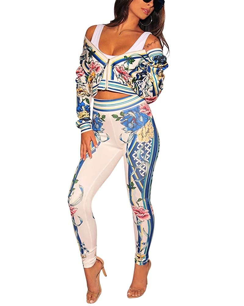 Aro Lora Womens 2 Piece Outfits Floral Print Jacket Long Bodycon Pant Set Sweatsuits
