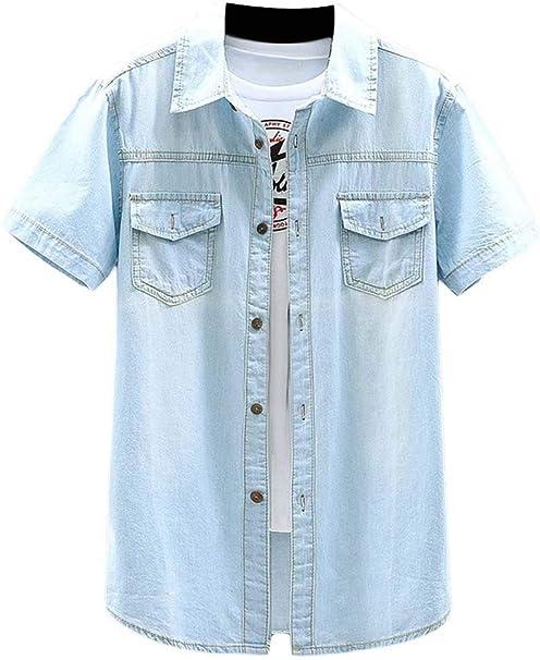 Suncolor8 男性夏ウォッシュカジュアルボタンアップショートスリーブデニムワークウエスタンシャツ