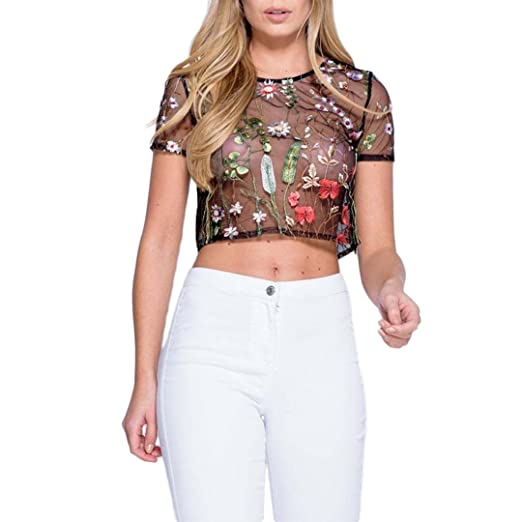 1450d52aae Hoohu Womens Short Sleeve Round Neck Black Sheer Mesh Floral Leaf Plant  Lace See Through T