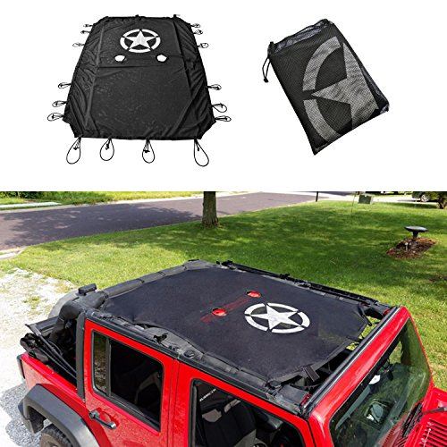 Cartaoo SunShade Mesh UV Protection Bikini Top Cover Net for 2007-2017 Jeep Wrangler JK JKU 4-Door Version