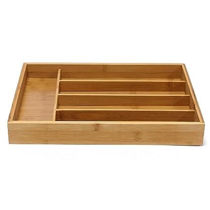 Jonas Cubertero Cajón Bambú – Organizador Cubiertos 5 Compartimentos – Bandeja Cubiertos Ideal para Cualquier Cocina
