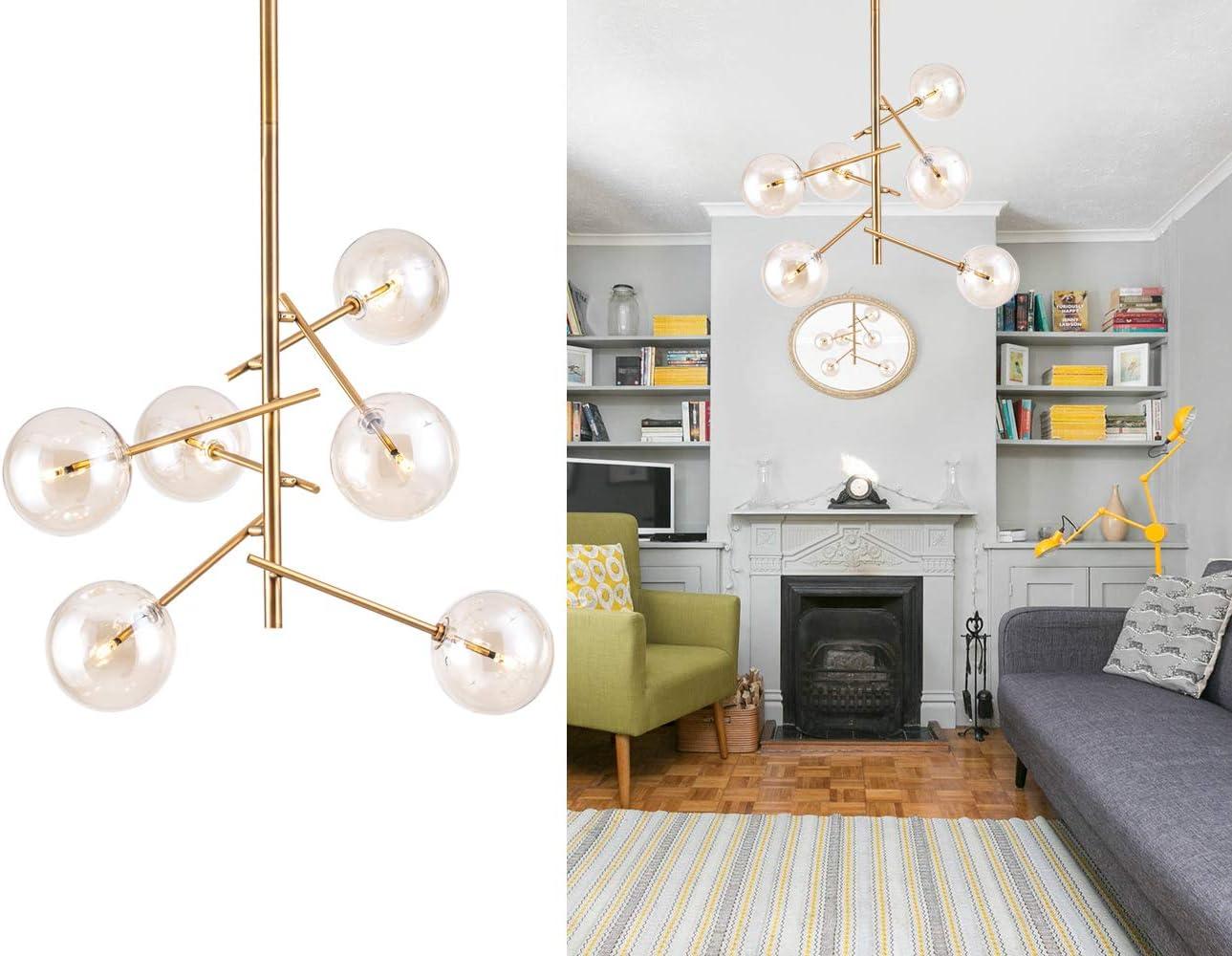 Amazon Com Modern Sputnik Chandelier 6 Lights Mid Century Brass Vintage Pendant Lighting Fixture For Foyer Dining Living Room Bedroom By Bewamf Home Improvement